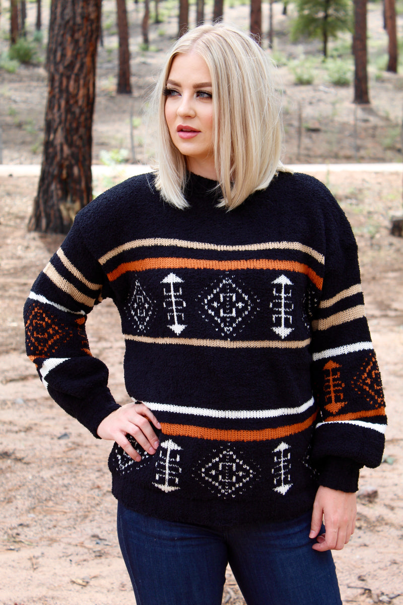 Comfy In Aztec Sweater Top