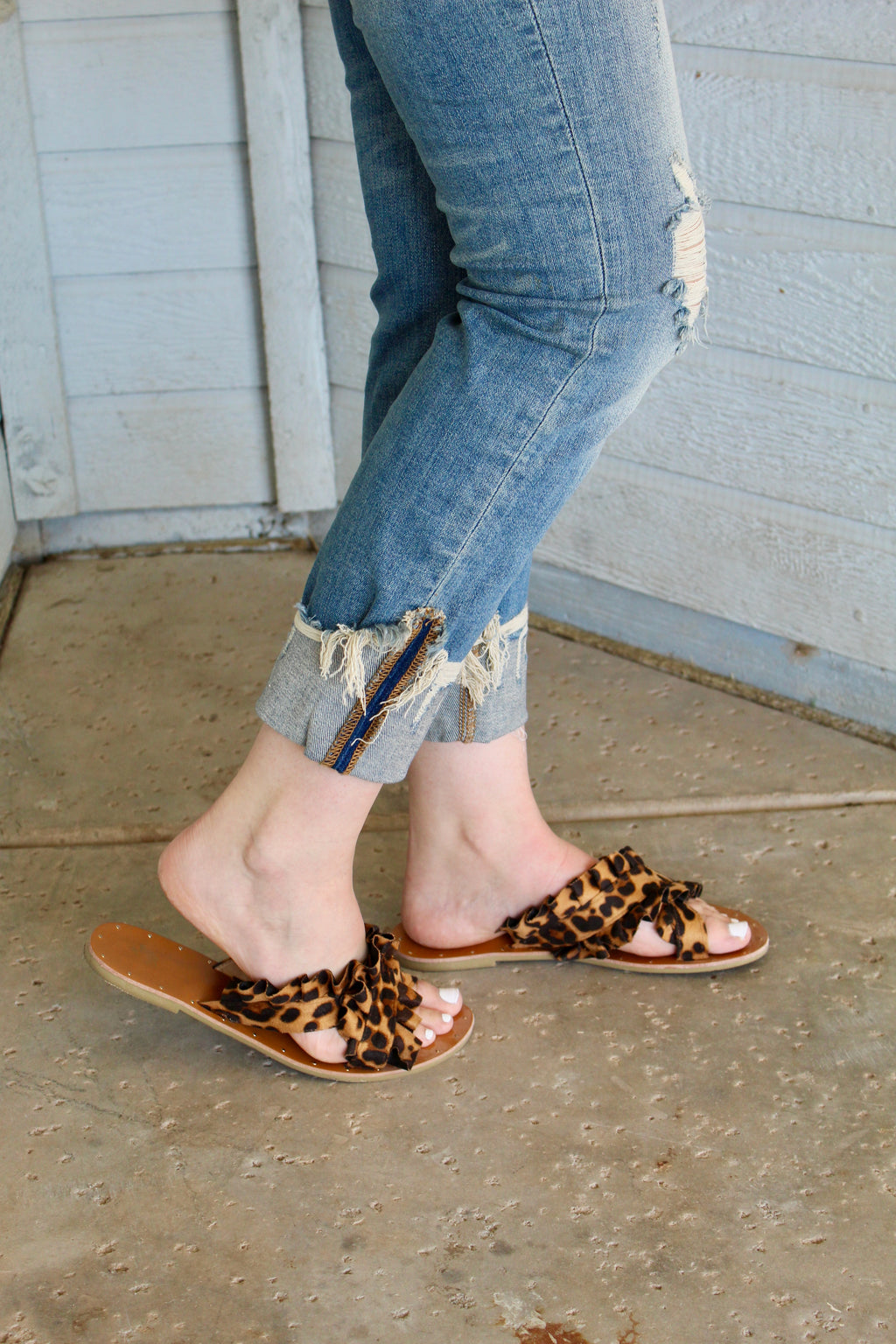 Lola Leopard Criss Cross Sandals