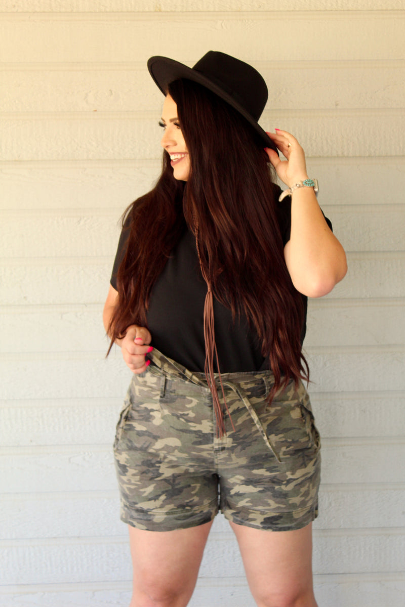Plus Size Camo Tie High Waist Shorts
