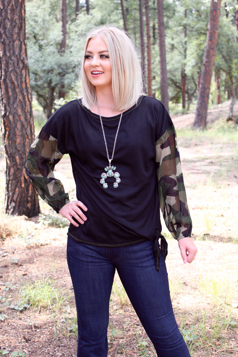 Camo Queen Contrast Long Sleeve Top