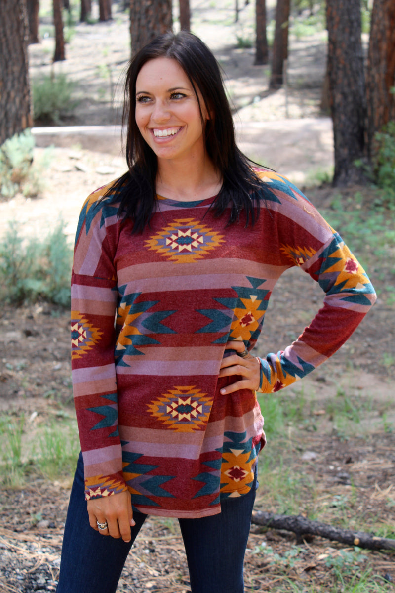 Las Cruces Long Sleeve Top In Burgundy