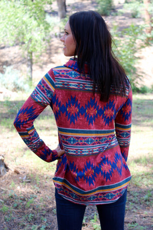 Wild In Aztec Cowl Neck Pullover In Burgundy
