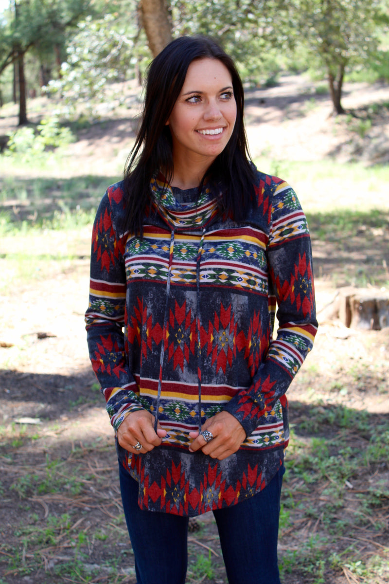 Wild In Aztec Cowl Neck Pullover In Black