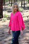 Brightest Pink Parachute Long Sleeve Top