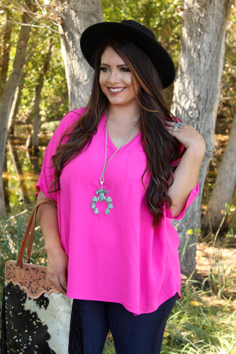 Hot Pink Boyfriend Pocket Top