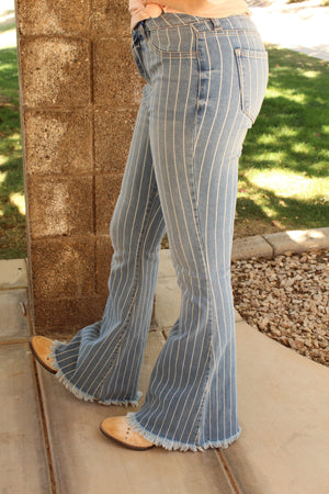 Pin Stripe Denim Flares
