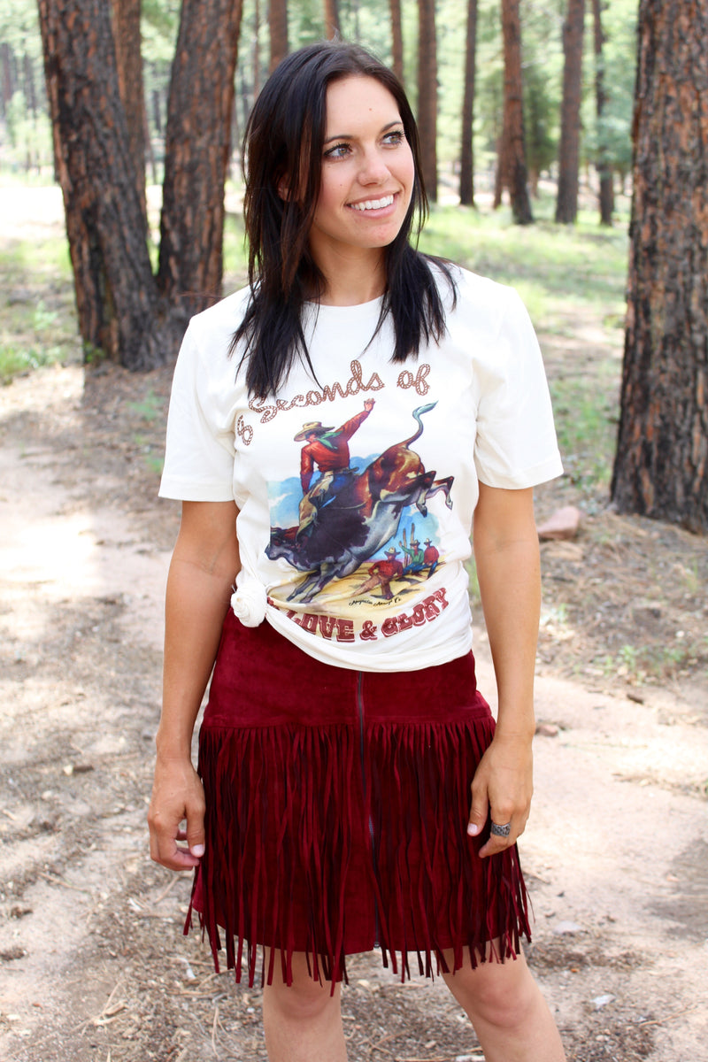Burgundy Babe Mini Fringe Skirt