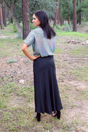 Midnight Satin Maxi Skirt