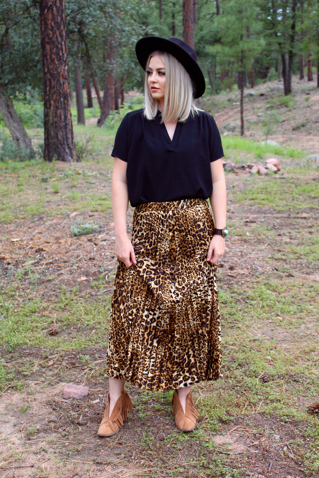 Gorgeous In Leopard Pleated Button Up Maxi Skirt