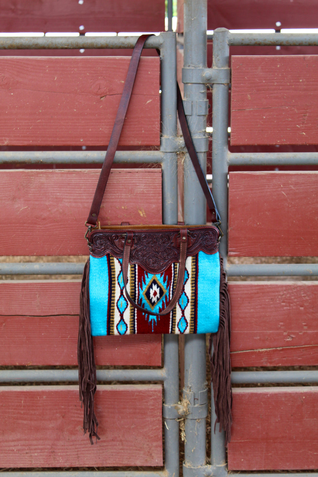 Blue Bonnet Saddleblanket Fringe Purse
