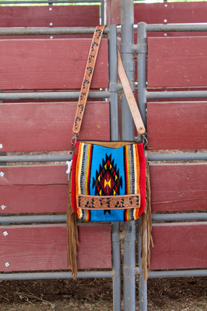 The Wyoming Hand Tooled Fringe Saddle Bag