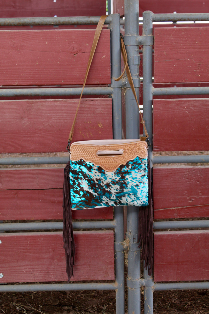 Turquoise Dreams Hand Tooled Fringe Purse