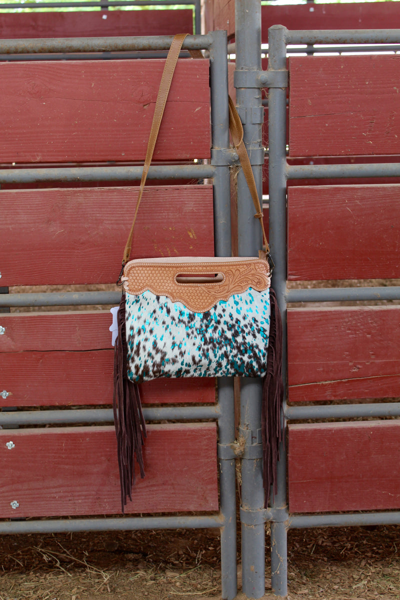 Turquoise Dreams Hand Tooled Fringe Purse x2