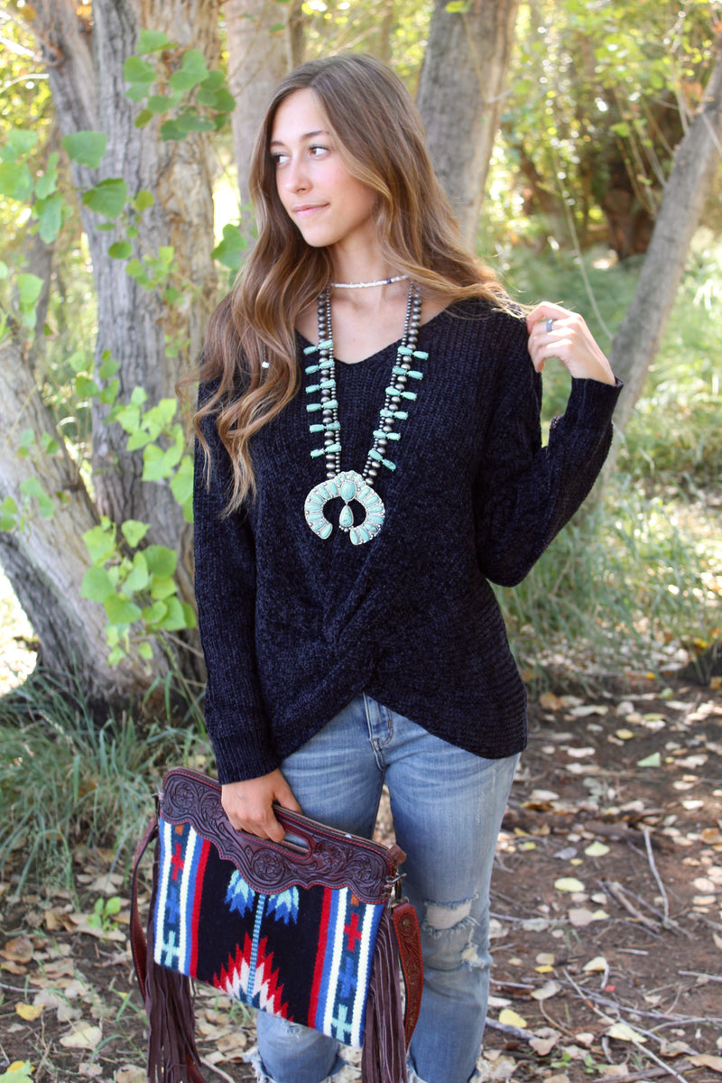 Knotted Up Midnight Sweater Top