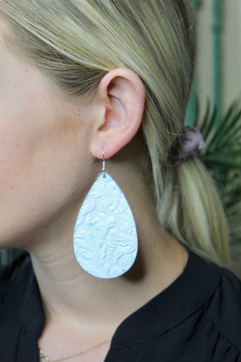White Tooled Leather Earrings