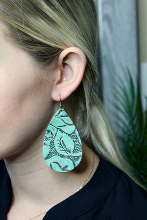 Turquoise Tooled Leather Earrings