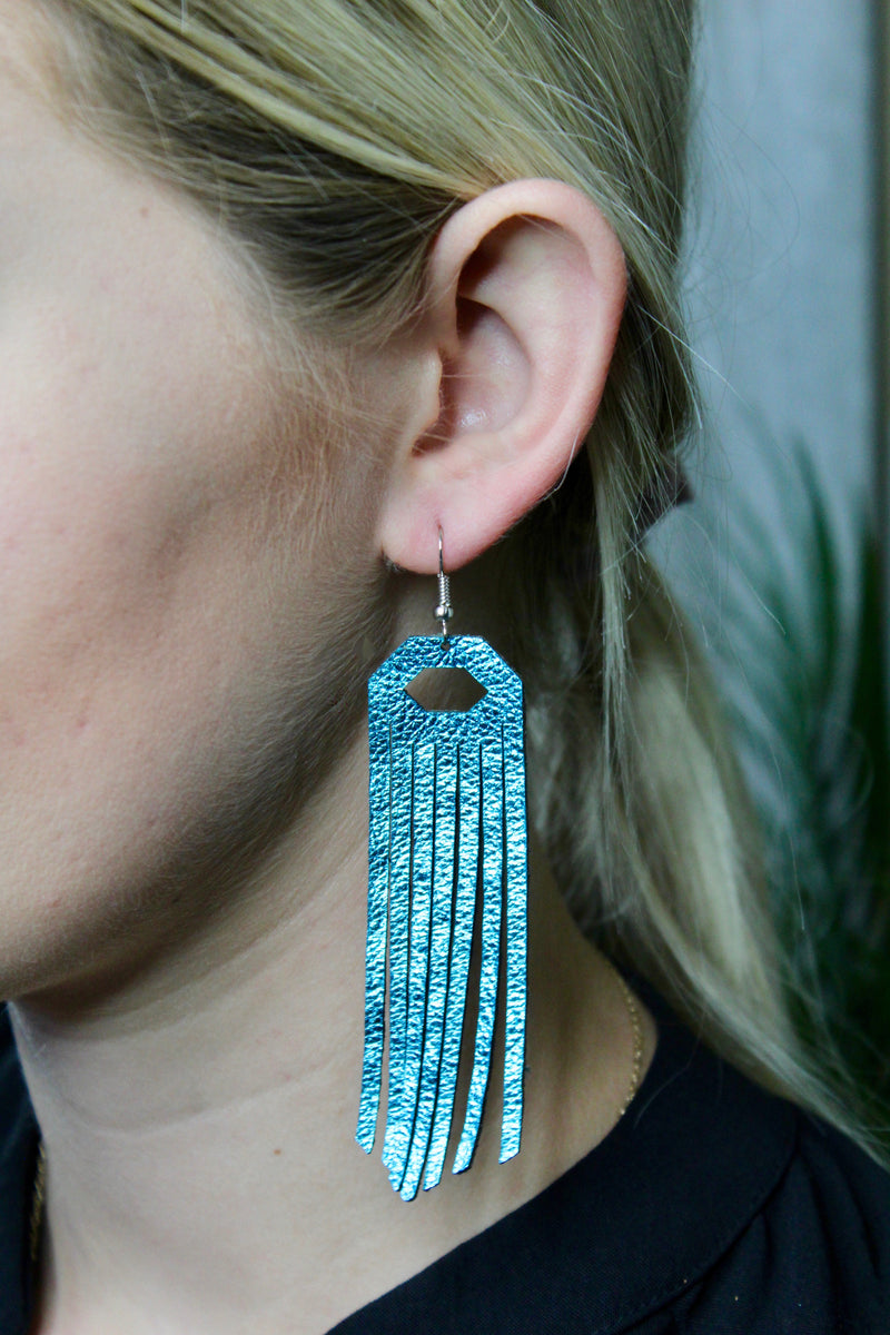 Turquoise Metallic Fringe Leather Earrings