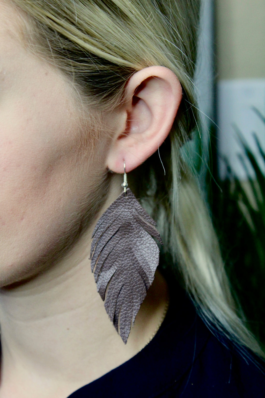 Feather Fringe Leather Earrings