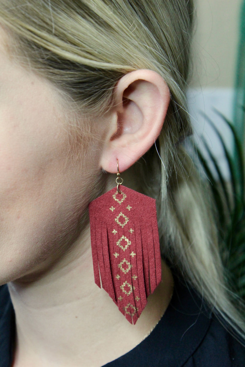 Felt Fringe Aztec Earrings