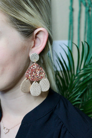 Rose Gold Leather Layered Earrings
