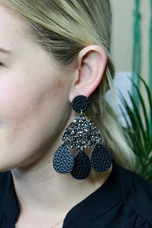 Midnight Leather Layered Earrings