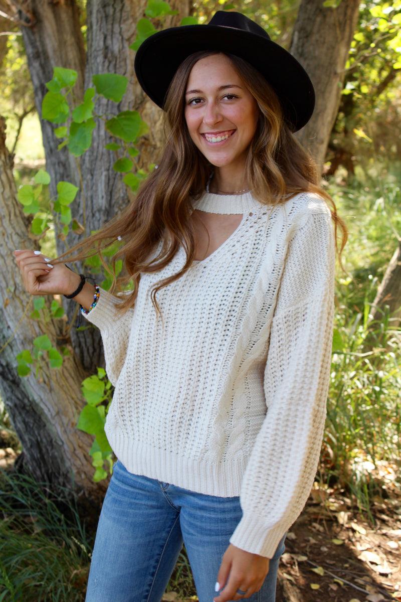 Woven Cream Key Hole Sweater Top