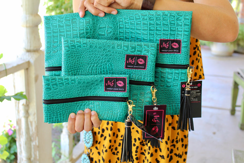 Turquoise Cobra Make Up Junkie Bags