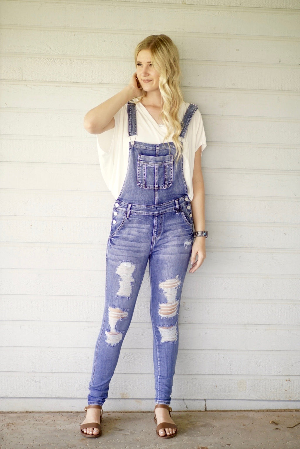 Louisiana Destroyed Denim Overalls