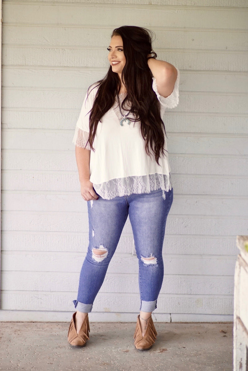 Judy Blue Vintage Midrise Distress Skinny Jeans Plus Size