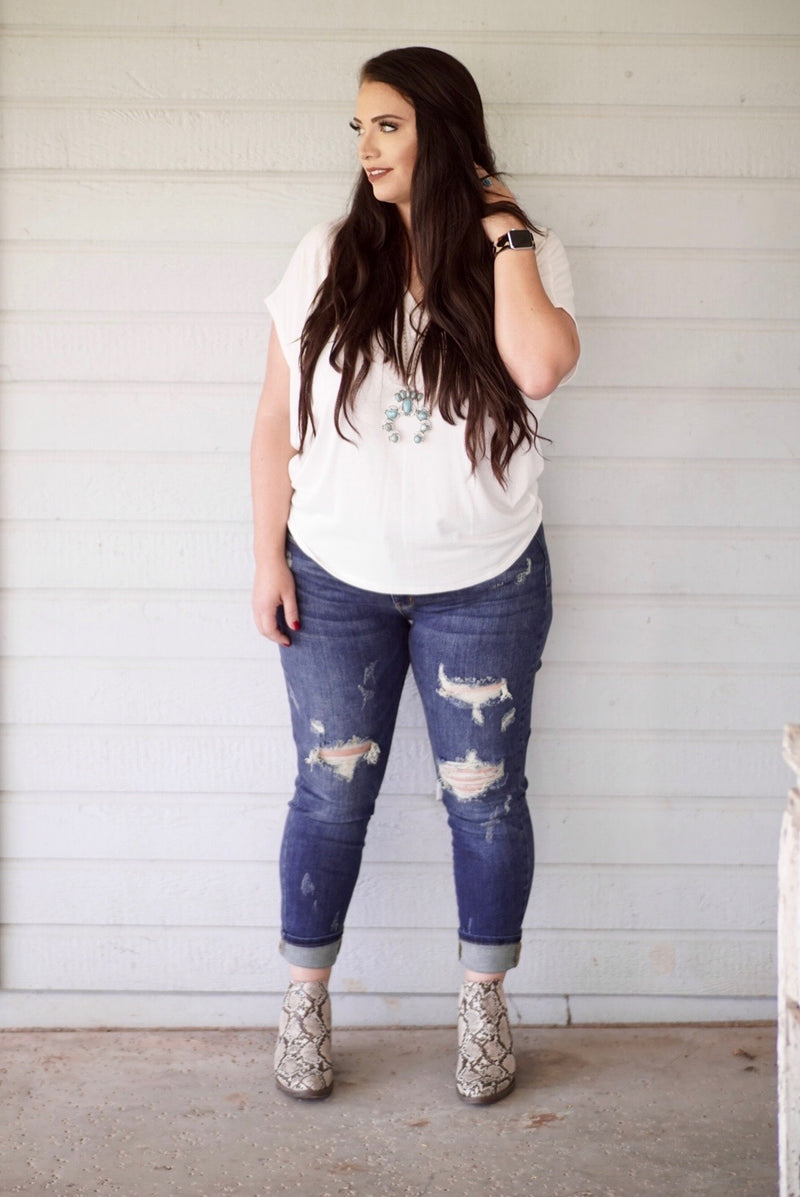 Judy Blue Darker Destroyed Boyfriend Jean Plus Size