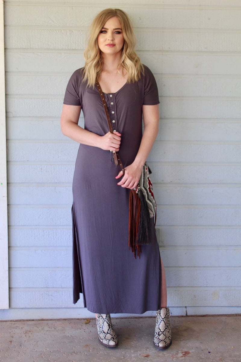Plum Button Down House Dress