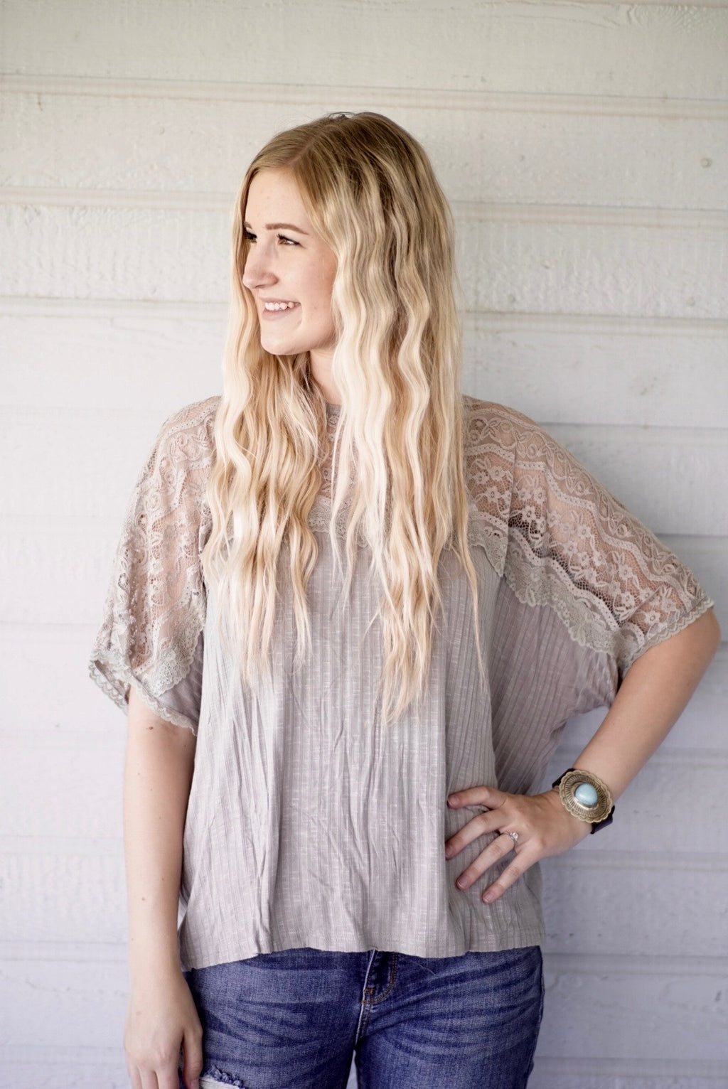 Date Night Lacey Grey Top