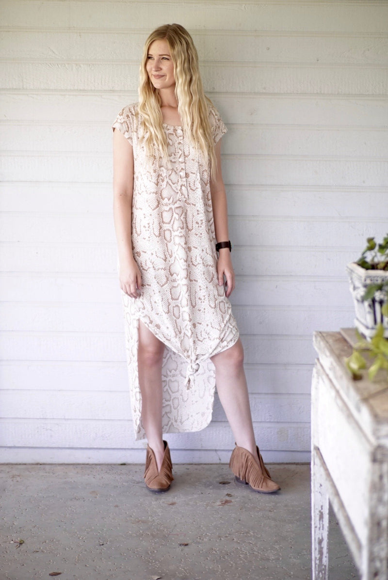 Desert Python Button Down Maxi Dress