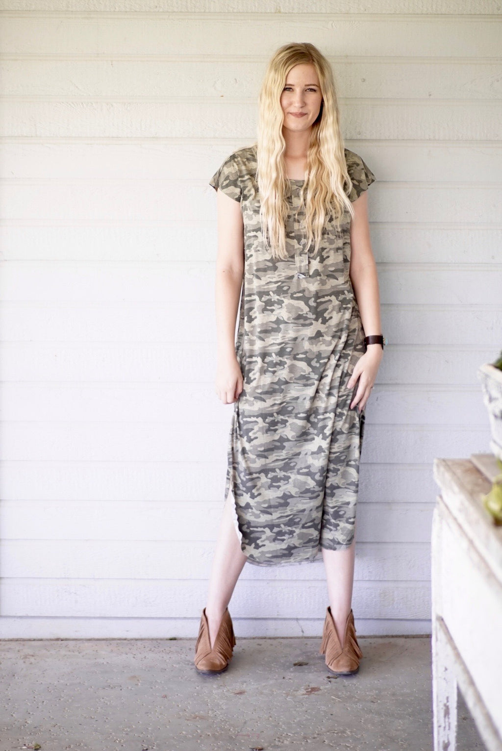 Army Button Down Maxi Dress