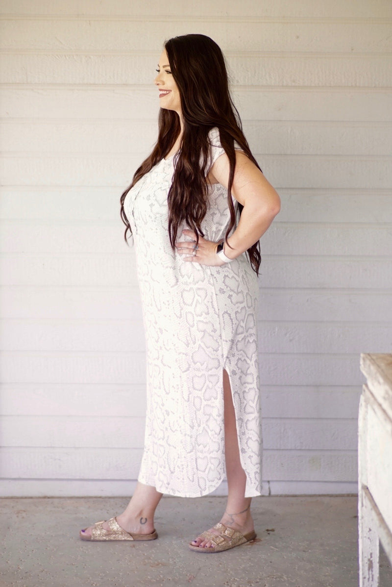 Silver Python Button Down Maxi Dress