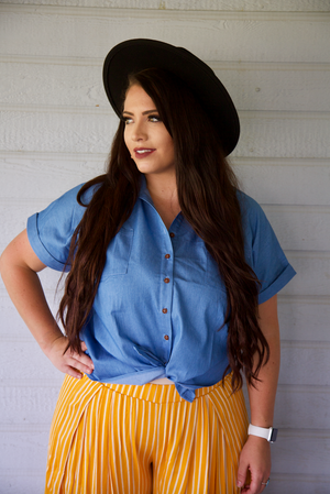 Daisy Duke Denim Short Sleeve Button Down Top