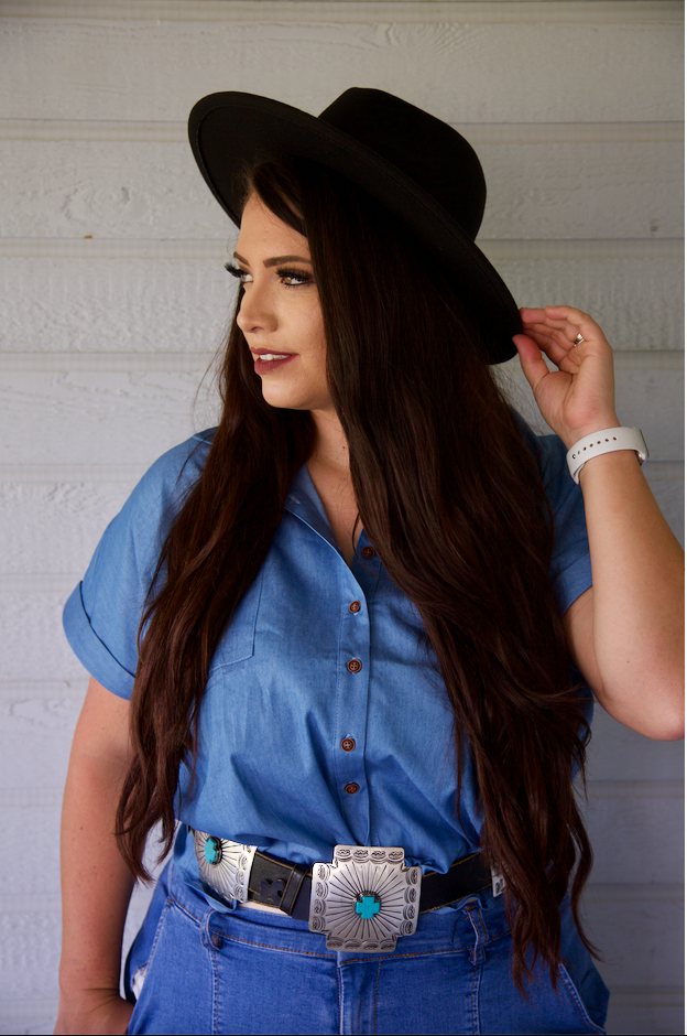 Plus Size Daisy Duke Denim Short Sleeve Button Down Top