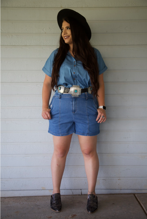 El Paso Light Wash Denim Shorts