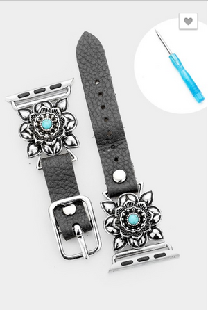 Turquoise and Floral Apple Watch Band (2 Color Options)