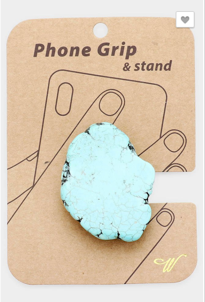 Turquoise Slab Phone Grip and Stand (2 Color Options)