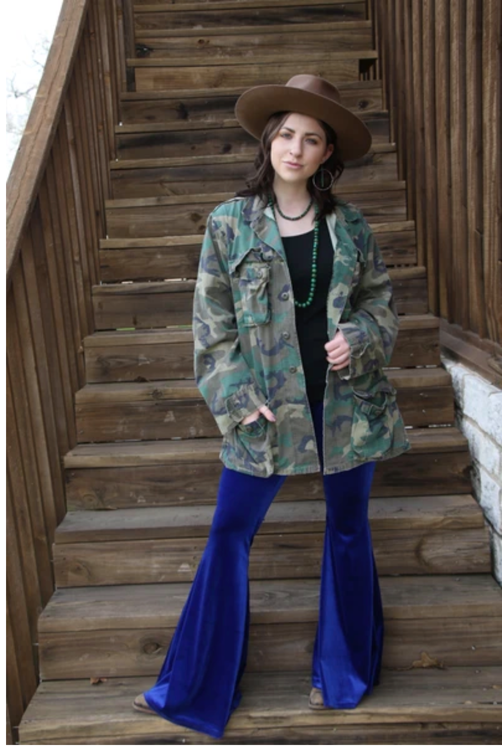 Cobalt Blue Velvet Bell Bottoms