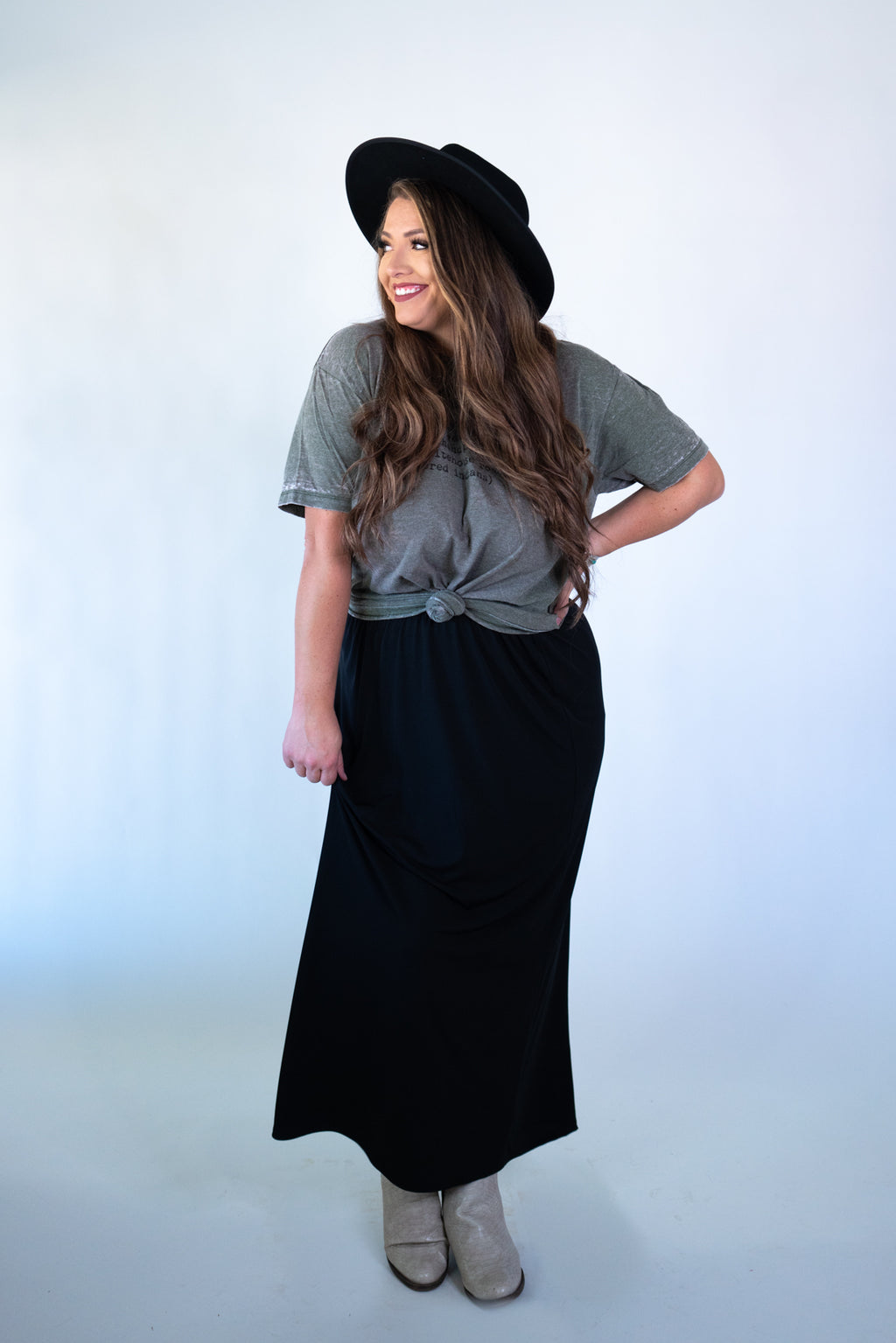 Long Black Train Maxi Skirt