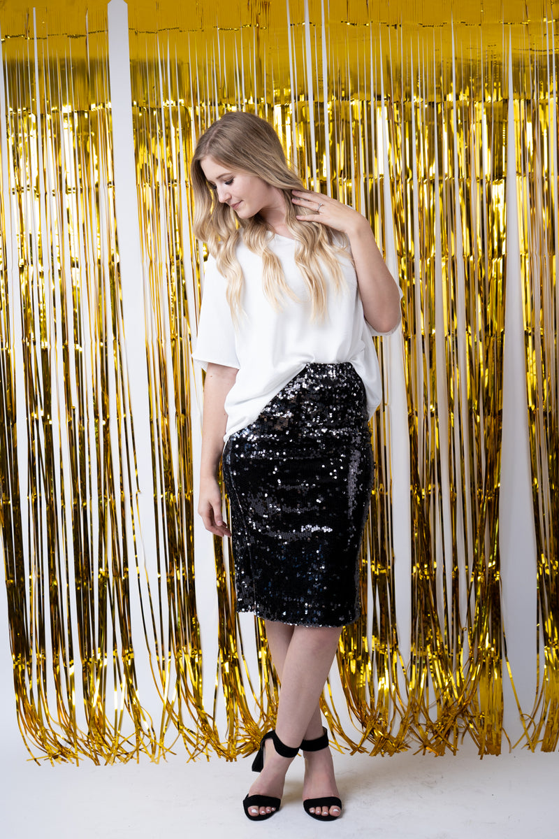 Night Rider Sequins Midi Skirt