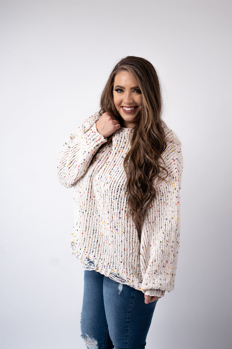 Funfetti Cream Sweater Top