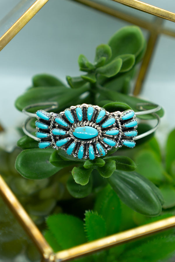 Genuine Turquoise and Sterling Silver Bracelet