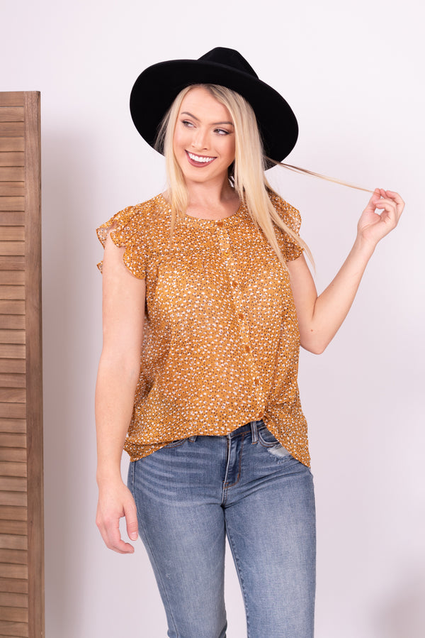 Mustard Floral Button Down Baby Doll Top