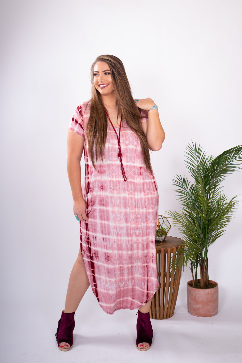 Wine Tie-Dye Maxi Dress with pockets. Side Slits on both sides with the Softest Fabric!