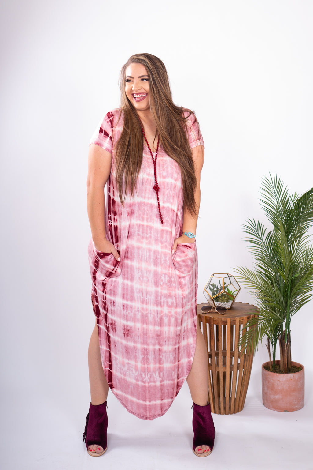 Dazed Maxi Dress in Wine