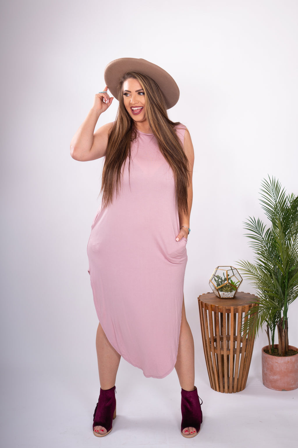 Blush Maxi Dress Slightly Distressed High Neck with Pockets