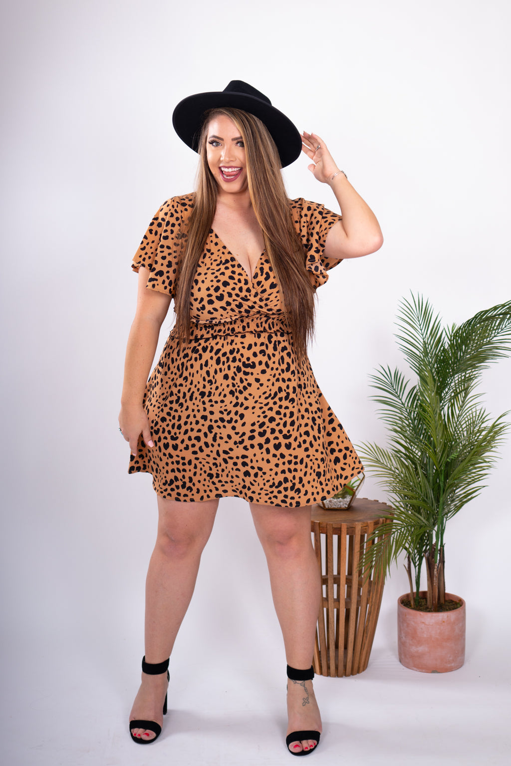Flirty Leopard Dress Flutter Sleeves Elastic Ruffle Waist